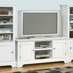 HomeStyles - 3-Pc Entertainment Center in White Finish - Includes TV console and right and left pier cabinets. Made from Asian and engineered hardwood. Made in Thailand. TV Console: . Open storage in the center with and adjustable shelf. Framed doors open to storage area with an adjustable shelf. Accommodates most 60 in. TVs. Wire management opening. Not suitable to support hanging weight of a flat screen TV. Console: 56 in. W x 20 in. D x 26 in. H. Pier cabinets: . Three adjustable shelves in the open storage area. One adjustable shelf in the bottom cabinet. Door is designed so that it can be installed to open from the left or right. Door opens to storage with an adjustable shelf. Wire management opening. 24 in. W x 18 in. D x 60 in. H. Stand Assembly Instructions. Pier Assembly InstructionsThe naples pier cabinet is a crucial piece that completes the finished look of the naples entertainment wall. Clear coat finish to help protect against wear and tear stemming from normal use.