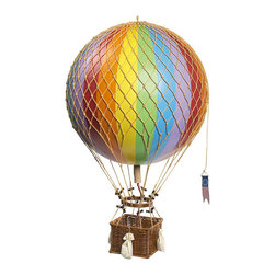 "Rainbow Royal Aero Hot Air Balloon - The rainbow royal aero hot air balloon measures 12.5""W x 22""H. This unique item features hand applied balloon strips in historical and new colors, hand woven netting and basket, wooden toggles and sand bags. It makes a great gift and impressive decoration."