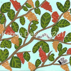 Tree Branch, Mint Green by kshoodesign - I would love to hang this painting in a nursery or play space. The cute design and vibrant colors make it perfect for kids, and the color palette is quite unique.