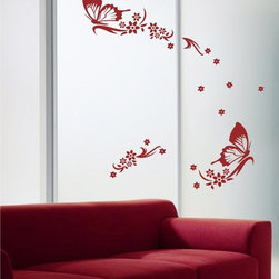 StickONmania - Sliding Doors Vinyl Sticker #5 - These decals come with two of each element mirrored, you choose how to place them.A vinyl decal sticker that lets you choose how to decorate. Decorate your home with original vinyl decals made to order in our shop located in the USA. We only use the best equipment and materials to guarantee the everlasting quality of each vinyl sticker. Our original wall art design stickers are easy to apply on most flat surfaces, including slightly textured walls, windows, mirrors, or any smooth surface. Some wall decals may come in multiple pieces due to the size of the design, different sizes of most of our vinyl stickers are available, please message us for a quote. Interior wall decor stickers come with a MATTE finish that is easier to remove from painted surfaces but Exterior stickers for cars,  bathrooms and refrigerators come with a stickier GLOSSY finish that can also be used for exterior purposes. We DO NOT recommend using glossy finish stickers on walls. All of our Vinyl wall decals are removable but not re-positionable, simply peel and stick, no glue or chemicals needed. Our decals always come with instructions and if you order from Houzz we will always add a small thank you gift.