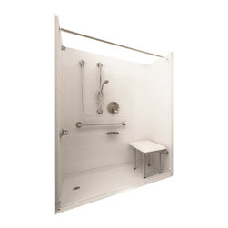 "Ella's Bubbles - Ella Deluxe Barrier Free, Roll In Shower 60""W x 31""D x 78""H, Left Drain - The Ella Deluxe, (5-Piece) 60 in. x 30 in. Roll in Shower is manufactured using premium marine grade gel coat fiberglass which creates a smooth, beautiful, long lasting surface with anti-slip textured shower base floor. Ella Deluxe Barrier Free Shower walls are reinforced with wood and steel providing flexibility for seat and grab bar installation at needed height for any size bather. The integral self-locking aluminum Pin and Slot System allows the shower walls and the pre-leveled shower base to be conveniently installed from the front. Premium quality material, no need for drywall or extra studs for fixture support, 30 Year Limited Lifetime Warranty (on shower panels) and ease of installation make Ella Barrier Free Showers the best option in the industry for your bathtub replacement or modification needs."