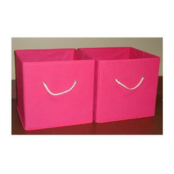 RiverRidge - Folding Storage Bins w White Rope Handles - Set of 2 (Hot Pink), Hot Pink - Finish: Hot Pink. Large capacity. Store and organize toys, games, art and craft supplies, clothes and more. Versatile storage - sit on the floor, put on a shelf, in the closet, on a bookcase or desk. Use in the kid's room, family room, play room. Handy cut out handles on both ends of bin. Each set contains 2 bins. Bins fold flat when not in use. Sturdy non woven man made fabric. Pictured in Lavander finish. 10.5 in. W x 10.5 in. D x 10 in. H