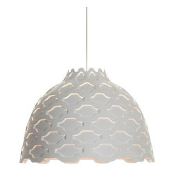 Louis Poulsen - Louis Poulsen LC Shutters Pendant Light - The LC Shutters Pendant Lamp was designed by Louise Campbell and produced in Denmark by Louis Poulsen. This new fixture is made of spun aluminum, available in a white finish with or without color screens. The perforated pattern on the shade provides a soft illumination around the fixture and helps to soften the light. An opal diffuser helps ensure that this fixture is 100% glare free.  The LC Shutters Pendant Lamp was designed by Louise Campbell and produced in Denmark by Louis Poulsen. This new fixture is made of spun aluminum, available in a white finish with or without color screens.