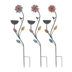 Benzara - Garden Metal Bird Feed Stake 3 Assorted Pieces - Garden Metal Bird Feed Stake 3 Assorted Pieces. Give your garden area the perfect look with this beautiful metal bird feed stake.