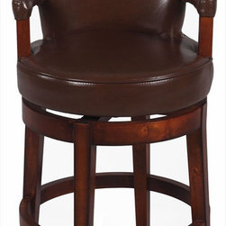Chintaly Imports - 0294-CS 26 Swivel Solid Birch Counter Stool, Brown - Wood: Solid Birch. Comfortable Cushioned Arm Rest. Comfortable Seat. Foot Rest for Extra Comfort. CA Fire Retardant Foam. Easily Assembled.