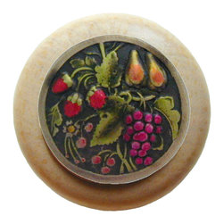"""Inviting Home - Tuscan Bounty Natural Wood Knob (unfinished with hand-tinted brass) - Tuscan Bounty Natural Wood Knob unfinished with hand-cast hand-tinted brass insert; 1-1/2"""" diameter Product Specification: Made in the USA. Fine-art foundry hand-pours and hand finished hardware knobs and pulls using Old World methods. Lifetime guaranteed against flaws in craftsmanship. Exceptional clarity of details and depth of relief. All knobs and pulls are hand cast from solid fine pewter or solid bronze. The term antique refers to special methods of treating metal so there is contrast between relief and recessed areas. Knobs and Pulls are lacquered to protect the finish."""