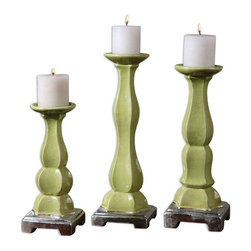 Uttermost - Irwyn Candleholders Set of 3 - Crackled, bright green ceramic with metallic silver accents.