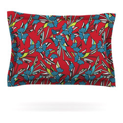 "Kess InHouse - Michelle Drew ""Paper Leaf Red"" Pillow Sham (Cotton, 30"" x 20"") - Pairing your already chic duvet cover with playful pillow shams is the perfect way to tie your bedroom together. There are endless possibilities to feed your artistic palette with these imaginative pillow shams. It will looks so elegant you won't want ruin the masterpiece you have created when you go to bed. Not only are these pillow shams nice to look at they are also made from a high quality cotton blend. They are so soft that they will elevate your sleep up to level that is beyond Cloud 9. We always print our goods with the highest quality printing process in order to maintain the integrity of the art that you are adeptly displaying. This means that you won't have to worry about your art fading or your sham loosing it's freshness."