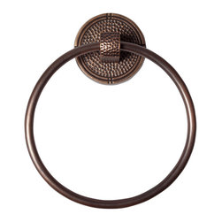 None - The Copper Factory Antiqued Hammered Copper Round Towel Ring - This handcrafted round copper towel ring with hammered back plate features an antiqued copper finish. This distinct towel ring will add a touch of elegance to any bathroom decor.