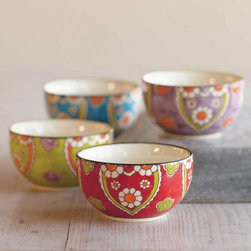"""Viva Terra - Garden Bowls (set of 4) - Our bright floral plates and bowls make ideal gifts for hosts and hostesses or friends who like to entertain. Festive and functional, they bring zest to holiday celebrations and cheer to the guests - you among them. Both arrive boxed and ready to give. PLATES8.25""""DIAM, BOWLS 4""""DIAM x 2.25""""H"""