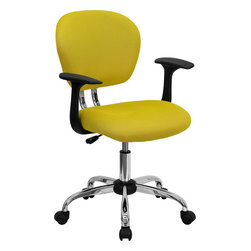 Flash Furniture - Mid-back Yellow Mesh Task Chair with Arms and Chrome Base - This value priced mesh task chair will accommodate your essential needs for your home or office space. This chair will add a splash of color to your office for a non-traditional look. Chair features a breathable mesh material with a comfortably padded seat.
