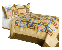 Blancho Bedding - Dream High 3PC Cotton Contained Patchwork Quilt Set  Full/Queen Size - Set includes a quilt and two quilted shams (one in twin set). Shell and fill are 100% cotton. For convenience, all bedding components are machine washable on cold in the gentle cycle and can be dried on low heat and will last you years. Intricate vermicelli quilting provides a rich surface texture. This vermicelli-quilted quilt set will refresh your bedroom decor instantly, create a cozy and inviting atmosphere and is sure to transform the look of your bedroom or guest room. Dimensions: Full/Queen quilt: 90 inches x 98 inches  Standard sham: 20 inches x 26 inches.