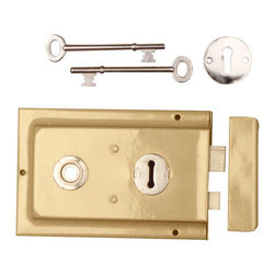 """Renovators Supply - Rim Locks Brass Plated Rim Lock Only 6 1/8"""" L 4"""" H - Rim Locks: An old fashioned skeleton key box lock. This traditional brass-plated steel rimlock easily mounts to a door surface and is reversible. Comes complete with skeleton keys, escutcheon, keeper, and mounting screws. Measures 4 in. h x 6 1/8 in. l. Latch proj. 7/16 in."""