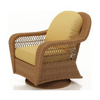 Forever Patio - Catalina Patio Wicker Single Glider, Straw Wicker, Wheat Cushions - The Forever Patio Catalina Swivel Glider Chair in Straw Wicker with Gold Sunbrella® Cushions (SKU FP-CAT-SGC-ST-CW) features a deep-seated design and sweeping curves, making it both incredibly comfortable and stylish. The UV-protected, straw-colored wicker incorporates subtle shifts in tones, providing a look that is complex and beautiful. This chair includes fade- and mildew-resistant Sunbrella® cushions.