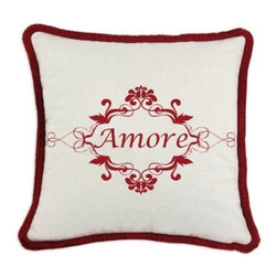 D'Kei Valentines Graphic Pillow Amore ornamental - Surround yourself with the language of love with the D'Kei Valentines Graphic Pillow Amore ornamental. Crafted with 75% cotton and 25% linen, this fluffy pillow is stuffed with 100% hypoallergenic polyfill. Inside an elegant scroll design reads Amore in a red, eco-friendly water-based ink. A soft, red brush fringe edge and hidden zip closure embellish all four sides of this decorative pillow.