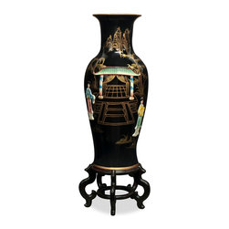 China Furniture and Arts - Hand-Painted Vase w/ Soap Stone Motif - This beautiful porcelain vase features soap stone dancing Chinese figures and can be used for your favorite bouquet or stand alone on a pedestal. Hand painted black lacquer accented with gold highlighted scenery  makes this vase stand out wherever it is placed. Imported from China. Matching stand sold separately.
