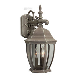 """Craftmade - Craftmade Cast Aluminum Outdoor Wall Sconce X-32-486Z - Enjoy the comfort of a good old fashioned lantern with this traditional wall sconce. The """"maintenance free"""" weathered iron saves you some sweat on the brow and time consuming frustration while providing elegant vintage appeal. The bold lines, contoured roof, and detailed accents make this a welcome ornament on your porch, patio, or in your garden. The clear beveled glass provides a warm glow."""