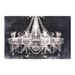 "The Oliver Gal Artist Co. - 'Dramatic Entrance' Night 30"" x 20"" - Kick up the drama without touching the light switch. This image of a glamorous chandelier will give any room in the house an instant style upgrade. You'll be setting out the fine china, popping the champagne and making every day a special occasion."