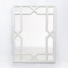 Contemporary Wall Mirrors White Lacquer Trellis Mirror