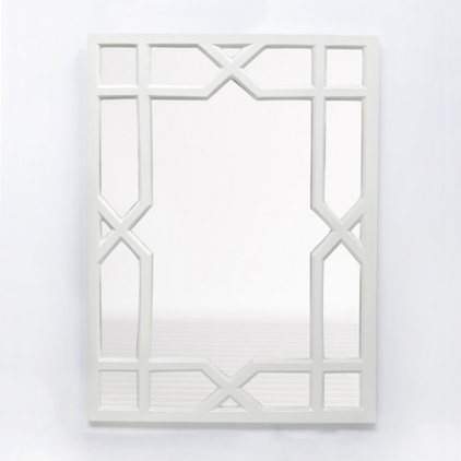 Contemporary Mirrors White Lacquer Trellis Mirror