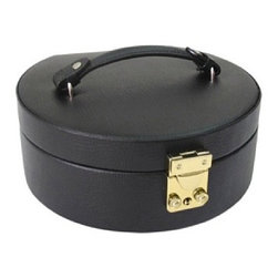Morelle - Linda Half Moon Leather Jewelry Box, Black - Lovely leather jewelry box with plenty of room for rings, necklaces, bracelets and earrings. Features mirror on inside lid and separate takeout compartment for added organization. Also includes lock and key for safety.