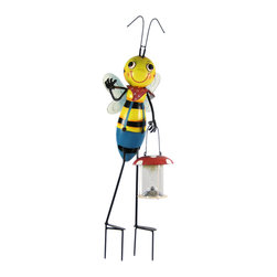 Zeckos - Cute Bumblebee Garden Stake Solar Light Lantern Bee 34 Inch - This wonderfully cute gardening bee outdoor garden stake statue has a solar powered lantern light in his left hand. The lantern turns on automatically in dark conditions, and lasts up to 10 hours under a full charge. The light is a clear LED, so the lantern casts a nice soft glow under dark conditions. Made metal and cold cast resin, the bee measures 34 inches tall, 9 inches wide and 8 1/2 inches deep. He's hand-painted, and shows great detail. This statue makes a wonderful addition to any garden or flowerbed.