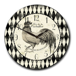 "Tyler - Rooster Kitchen Clock, 30"" - Country Style"