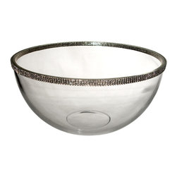 "Alan Lee Collection - Princess Collection 11"" Fruit, Salad Glass Bowl - This large bowl is 11"" in diameter and 6"" deep. A multipurpose bowl perfect for a salad of any kind. Made of beautiful thick glass with hand applied cut crystal accents around the top outside edge."