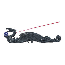 GSC - 12.5 Inch Dark Dragon Holding Orb Incense Burner - This gorgeous 12.5 Inch Dark Dragon Holding Orb Incense Burner has the finest details and highest quality you will find anywhere! 12.5 Inch Dark Dragon Holding Orb Incense Burner is truly remarkable.