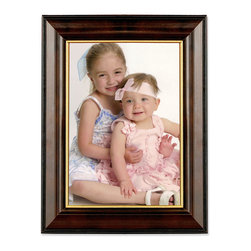 Lawrence Frames - Walnut and Black Wood 5x7 Picture Frame - Gold Line - Beautiful dark walnut brown wood picture frame with gold inner liner is trimmed in black.  High quality black velvet backing with an easel for vertical or horizontal table top display, and hangers for vertical or horizontal wall mounting.    Hand finished 5x7 wood picture frame is made with exceptional workmanship and comes individually boxed.