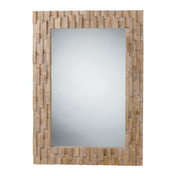 Kathy Kuo Home - Gavin Modern Rustic Chunky Wood Mosaic Mirror - Framed in inlaid panels of natural wood, this mirror creates an alluring sense of texture and movement, while reflecting light beautifully.  Scandinavian style homes will find this a most welcome addition.