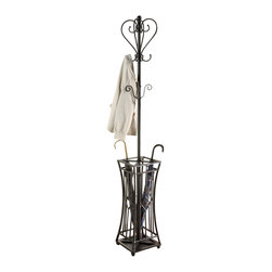 Adarn Inc. - Casual Black Metal Coat Hat Rack Racks Hall Tree Hanger w/ Umbrella Holder Stand - A substantial square base holds everything in place on this metal coat rack with umbrella stand. Two tiers of hanging hooks invite you to pile on the coats, mittens and hats. A metal umbrella stand features a unique hourglass shape and holds your umbrella and related items securely in place. A subtle pewter look finish bathes the post and base and casts a subtle sheen across your living space.