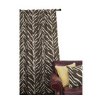 ez living home - EZ Living Home Zebra Window Panel 84L Cream on Brown - *Timeless and classic zebra pattern with a modern touch; complements existing room decoration.