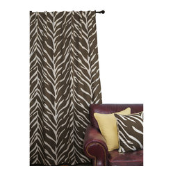 EZ Living Home Zebra Window Panel 84L Cream on Brown