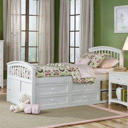 Schoolhouse Captain Bed - White - Fanciful daydreams and deep slumbers are firmly encouraged on the Schoolhouse Captain Bed - White. This bed is constructed from the finest available hardwood and finished in glorious white to thoroughly vivify any space it occupies. Available in twin and full sizes a child of any age will be welcomed into its arms. The twin bed measures 81L x 42W x 43H (headboard) and 32H (footboard) inches. The full bed measures 81L x 57.75W x 43H (headboard) and 32H (footboard) inches.About New Energy KidsNE Kids is a company with a mission: to create and import truly unique furniture for your child. For over thirty years they've been accomplishing this mission with flying colors one room at a time. Not only will these products look fabulous they will provide perfect safety for your children by adhering to the highest standards set by the American Society for Testing and Material and the Consumer Products Safety Commission. Your kids are in the best of hands and everyone will appreciate these high-quality one-of-a-kind pieces for years to come.