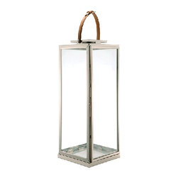 Large Lantern Square Base with Leather Handle - SKU 890057Large Lantern Square Base with Leather Handle
