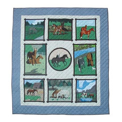 Patch Quilts - Horse Friends King Quilt - -Constructed of 100% Cotton  -Machine washable; gentle dry  -Made in India Patch Quilts - QKHSFR