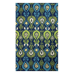 nuLOOM - Outdoor 8'x10' Blue Hand Hooked Area Rug Indoor Outdoor Ikat - Made from the finest materials in the world and with the uttermost care, our rugs are a great addition to your home.