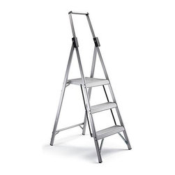 "Frontgate - Slim Profile Ladder 3-step - Nonmarring leg tips with nonslip rubber feet protect floors while keeping the ladder steady and secure. Conforms to ANSI Type II commercial standards. 225 lb. capacity. Only 1-1/2"" thick when folded. 4-1/4"" deep nonslip steps and a 14-1/2"" deep top step. Measuring in at a mere 1-1/2"" thick when folded, our Ultra Lightweight Slim Profile Ladders are crafted from durable, lightweight, commercial-grade aluminum. With  – the largest of any residential ladder – it's clear how these ladders exceed others. . . . . . 2-step ladder is 59-3/4""H; 3-step is 71-3/4""H; 4-step is 84-1/4""H."