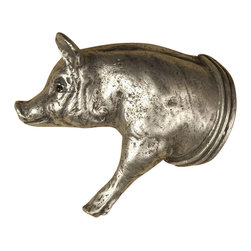 Anne At Home - Pig Left Knob - Hand cast and finished. Made in the USA. Pewter with brass insert. 4.5 in. L x 3.75 in. W x 1 in. H