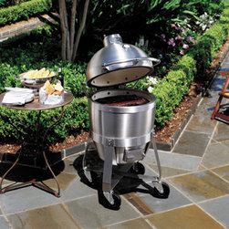 Viking Professional Series VCQS001SS C4 Outdoor Cooker - C4 Outdoor Cooker with 315 Sq. In. Cooking Surface, Ceramic Interior, Precise Temperature Control, Elliptical™ Airflow, Thermometer, Spring Hinged Canopy, Heavy-Duty Porcelain-Coated Cooking Grids