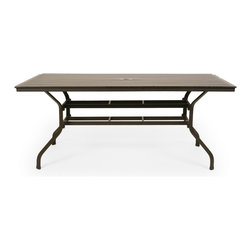 Caluco - San Michelle Rectangle Dining Table - The San Michelle Rectangle Dining Table combines style, durability, and comfort to provide unmatched value in outdoor seating.  Pictured in the charcoal grey aluminum.