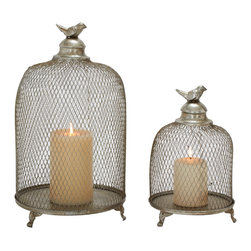 Set of 2 Grandeur and Unique Styled Metal Candle Lantern - Description: