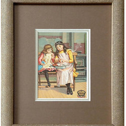 Consigned Two Young Girls in the Kitchen c1900 - A framed Victorian trade card. An early form of collectible advertising, cards like these were popularized after the Civil War by businesses and manufacturers. Frame measures 9.5 x 11.5 inches, image is 3 x 4.75 inches.