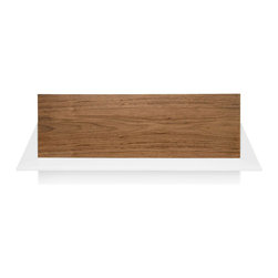 Blu Dot - Blu Dot Wonder Wall Shelf (2 Pack), Walnut / White - The powder coated steel shelf mounts to your wall, while the magnetically attached back panel provides the polish of a custom built unit. Stack them to create a floating bookcase, split them up or use them side by side for a sprawling array. Sold in a set of two.Powder-coated steel shelves, Walnut: Walnut veneer back panels, Mounting hardware not included, Ivory/White: Lacquer finish on engineered wood substrate back panels