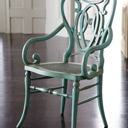 "Green Scroll Armchair - Crafted of European beechwood and rattan, this charming chair with open scroll-work design, has a custom hand-distressed finish that includes ""worm holes,"" rasping, and rub through.22""W x 22""D x 38.5""T."