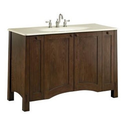 "KOHLER - KOHLER K-2495-F41 Westmore 48"" Vanity - KOHLER K-2495-F41 Westmore 48"" VanityOffering a fresh take on a truly American design style, the Westmore vanity was designed with the precision and master craftsmanship of the Arts and Crafts movement in mind. The clean vertical lines of this style allow the vanity to work beautifully with nearly any type of decor, from antique traditional to minimalist modern.Please see our Delivery Notes for Freight Shipments for products that are oversized and/or are too heavy to ship UPS ground. KOHLER K-2495-F41 Westmore 48"" Vanity, Features:• 49-1/2""W x 21-1/2""D x 33-1/2""H"