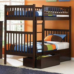 Atlantic Furniture - Arizona Twin over Twin Bunk Bed - ATF201 - Shop for Bunk Beds from Hayneedle.com! About the Arizona Twin over Twin Bunk Bed Inspired by the Southwestern architecture of the same name the Arizona Twin over Twin Bunk Bed is the perfect addition to your child's room. It features solid hardwood construction clean-lined square posts and slats and it is available in handsome Antique Walnut Caramel Latte or Natural Maple finish. It looks great and can withstand what even the most rambunctious kids dole out. About Atlantic FurnitureFounded in 1983 as Watercraft Inc. Atlantic Furniture started as a manufacturer of pine waterbed frames. Since then the Springfield Mass.-based company has expanded to Fontana Calif. The company has moved away from the use of pine and now specializes in imported furniture made of the wood of rubber trees. The Benefits of Eco-Friendly RubberwoodPrized as an environmentally friendly wood rubberwood makes use of trees that have been cut down at the end of their latex-producing life cycle. The trees are removed by hand and replaced with new seedlings. In the past felled rubber trees were either burned on the spot or used as fuel for locomotive engines brick firing or latex curing. Now the wood is used in the manufacture of high-end furniture. It is valued for its dense grain stability attractive color and acceptance of different finishes. Atlantic's Unique Five-Step Finishing ProcessEach product in the entire line is finished with a high-build five-step finishing process. After a thorough sanding a wipe-on sealer is applied followed by a tinted sealer to even the grain and color of the wood. Additional sanding prepares the surface for the first base color coat more sanding and a second base color coat. After a final sanding the finish coat is applied. This process produces a beautiful and durable finish that will last for years.