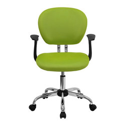 Flash Furniture - Flash Furniture Office Chairs Mesh Task Chairs X-GG-SMRA-NG-F-6732-H - This value priced mesh task chair will accommodate your essential needs for your home or office space. This chair will add a splash of color to your office for a non-traditional look. Chair features a breathable mesh material with a comfortably padded seat. [H-2376-F-GN-ARMS-GG]