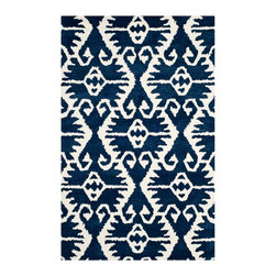 Safavieh - Stefano Hand Tufted Rug, Royal Blue / Ivory 4' X 6' - Construction Method: Hand Tufted. Country of Origin: India. Care Instructions: Vacuum Regularly To Prevent Dust And Crumbs From Settling Into The Roots Of The Fibers. Avoid Direct And Continuous Exposure To Sunlight. Use Rug Protectors Under The Legs Of Heavy Furniture To Avoid Flattening Piles. Do Not Pull Loose Ends; Clip Them With Scissors To Remove. Turn Carpet Occasionally To Equalize Wear. Remove Spills Immediately. Safavieh's artistry is vividly displayed in the Wyndham collection with designs ranging from contemporary florals to traditional global motifs. Each richly-hued rug is hand-tufted by master weavers in India of top quality wool. Several designs recreate the one-of-a-kind look of fashionable over-dyed antique rugs using a special multi-colored yarn that is meticulously colored using ages-old pot dyeing techniques. After the dye is carefully applied to each strand of wool, touches of organic viscose are added for soft silky luster as special highlights accents.